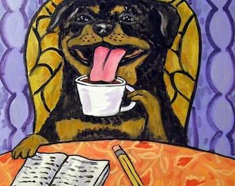 25% off Rottweiler art - Rottweiler gifts - Rottweiler coffee Dog Art Tile Coaster gift - rottweiler gifts - coffee art - coffee gifts - cof