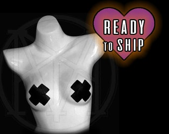 READY2SHIP - Black X cross Nipple Pasties perfect for cage bra and body harness coverage