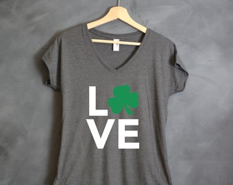 "Shamrock ""Love"" V-Neck Top, St. Patrick's Day, Pub Crawl, Bar Crawl, Gift for Girlfriend, Wife, Fiance, Friend, Ireland, Irish, Party"