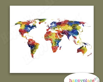 20x30in world map large printable world map jewel tones large watercolor world map for instant download printable art is a great last minute gift gumiabroncs Choice Image
