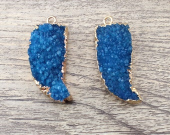 1pcs Gold Plated Royal Blue Crystal Crescent shape Druzy Pendant Electroplated Natural Agate Drusy Bead Gemstone Geode Making Jewelry-TR158