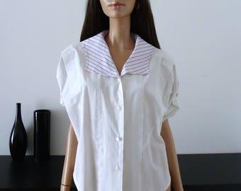 Lilac/white sailor collar blouse size 42 / uk 14 / us 10