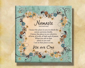 NAMASTE-Contemporary 12x12 Gallery Wrapped Canvas Word Art Prints - Teal Orange Brown Green Blue Variegated