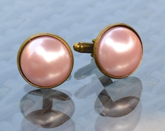 Pale Pink Pearl Cabochon Cufflinks in Antiqued T-Bar Cufflink Fittings - Gift Boxed