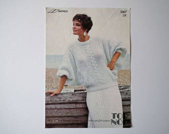 Original Hayfield 2367 Vintage Knitting Pattern, DK Lady's Sweater, Handknit Pattern, Size 28-42 inch, 71-107 cm, Long Batwing Sleeves