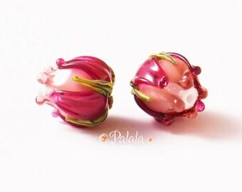 Pair of Handmade Lampwork Flower Bud Beads