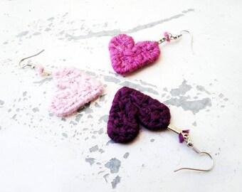 Dusty Rose Earrings Dusty Rose Heart Valentine Earrings Big Bold Earrings Aubergine Earrings Crochet String Art Love Heart Earrings