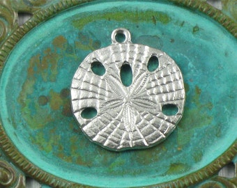 2 silver SAND DOLLAR shell jewelry pendant  .  Amazing detail . 20mm x 18mm (ST56)