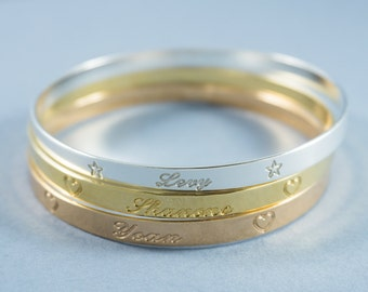 Personalized Rose Gold Bracelet, Engraved Bangle, Personalized Bangle, Rose Gold Name Bracelet, Rose Gold Bracelet, Personalized Bracelet