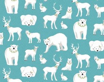 Polar bear fabric, Deer fabric, fox fabric on Teal.Free Domestic Ship over 50