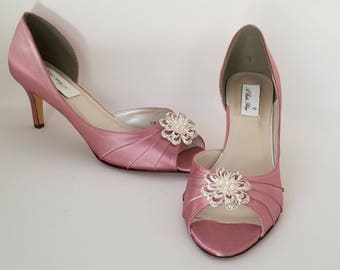 Dusty Rose Bridal Shoes Dusty Rose Wedding Shoes with a Sparkling Crystal Pearl Flower or PICK FROM 100 COLORS Dusty Rose Bridesmaid Shoes