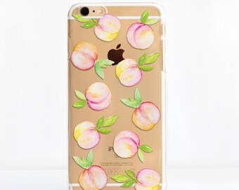 Peaches - Transparent Snap On Phone Case iPhone Cases,  Samsung Cases, Google Pixel Cases and One Plus 5 Cases, Dessi Designs
