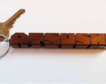 Name Keychain in Ipe Wood, Carved to Order