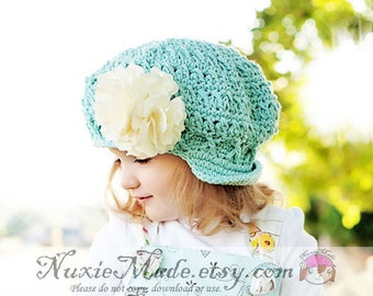 2T-4T Robins Egg Blue Girls Hat Childrens Hat Newsboy Apple Cap Turquoise Hat Girls Winter Hat Fall Hat Crochet Girl Hat Beanie with Brim