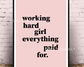 Drake nice for what, Drake lyrics, Lyrics wall art, Girl boss print, Boss lady gift, Girl BOSS, Office wall decor, Pink office, Drake poster
