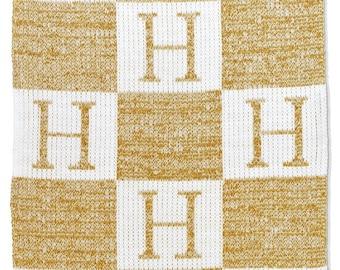 Metallic Initials & Block Blanket Custom Monogram Woven Blanket