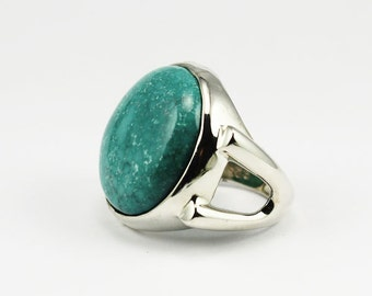 20 mm Round Turquoise ring silver 925e mount Unique piece