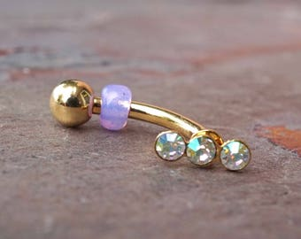 Crystal 14kt Gold Rook Earring Daith Piercing Eyebrow Ring