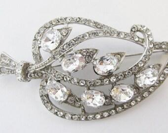 Vintage-Joseph Wiesner NY-Jewelry-Silver-Rhinestone-Pin-Brooch-Costume Jewelry-Leaf-Women-Gift-Birthday-Birthday Gift-Anniversary