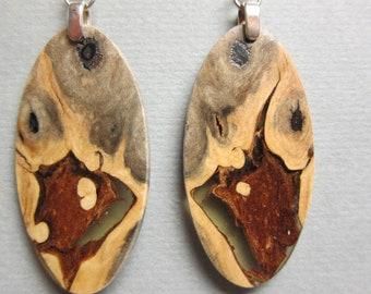 Stunning Exotic Wood Earrings drop dangle Exotic Wood handcrafted repurposed resin