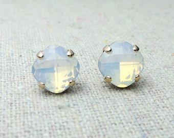 Swarovski Crystal White Opal Post Earrings Cushion Cut Square Earrings Bridal Jewelry Wedding Earrings Bridesmaids Gifts