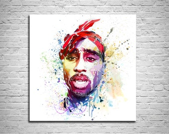 CANVAS PRINT Watercolor Art, Colorful Tupac Poster, Canvas Art Print, Watercolor, Contemporary Abstract Drawing