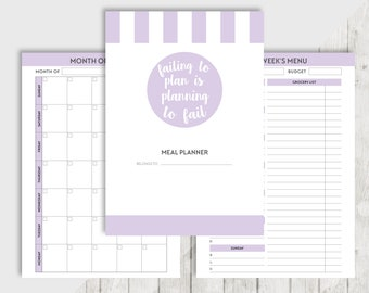 Printable MEAL Planner A5, Personal Inserts for Filofax, Kikki K, Meal Planner, Grocery List, Shopping List, Recipe, Menu Planner