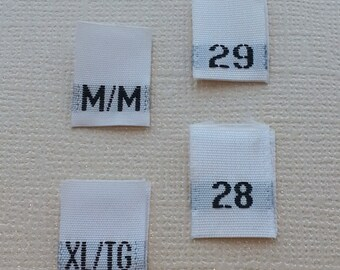 100 Ready to Sew Clothing Size Tags for Garments, Woven Clothing Size Labels with Finished Edges Made with Soft Premium Fabric