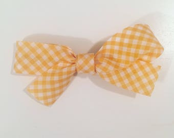 Hair bow in yellow and white gingham cotton Ribbon