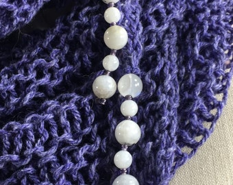 Wearable Fiber Art, Mindful Wrap-Moonstone Beads on a Purple Tweed Organic Merino Cotton Mindfulness Mantle . . . MoonShadow Mantle
