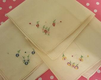 Vintage Linen Floral Handkerchief Set of Three