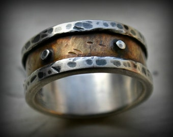 mens industrial wedding ring, rustic fine silver and brass ring, silver rivets, oxidized ring, handmade mens ring, custom hand stamping