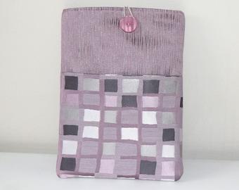 iPad Sleeve with Pocket, Checked iPad Cover, Tablet Cover with Pocket, Purple iPad Cover Case, Purple Tablet Cover, Checked Tablet Cover