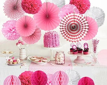 Hanging Paper Fan Set,  Tissue Paper Pom Poms Flower Fan and Honeycomb Balls for Birthday Baby Shower Wedding Festival Decor - Pink