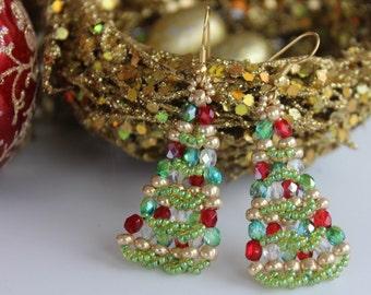 PDF tutorial christmas_tree_beaded_earrings - seed beads_ pettarn
