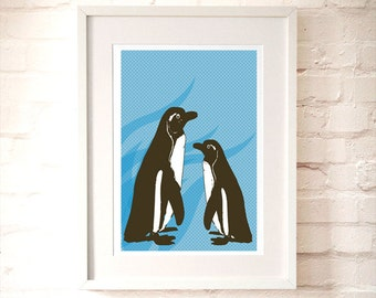 Penguins in blue -  Kids Art Prints, nursery decorating ideas, nursery penguins, two penguins, baby nursery, wall decor