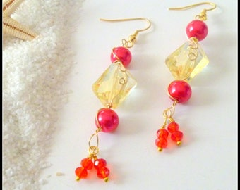 Yellow Crystal Wire Wrapped Earrings with Red Glass Pearls