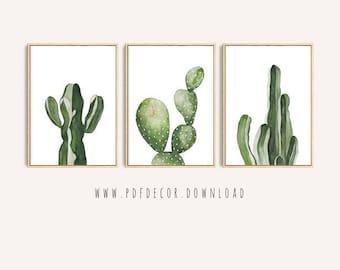 Cactus Print Set, Set of 3 Cactus Art, Set of 3 Prints, Wall Art, Cactus Art, Tropical, Cactus Decor, Cacti, Art, Greenery, Botanical, Print