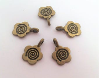 Bronze Tone Flower Glue on Bail 15x11mm