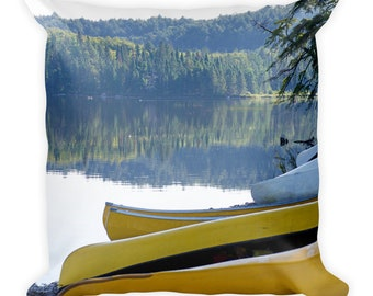 Lake Throw Pillow Canoe Decor, Lakehouse Life, Cottage Lover Gifts for Men Outdoor Enthusiast, Nature Wilderness, Summer Boat Cover w Insert