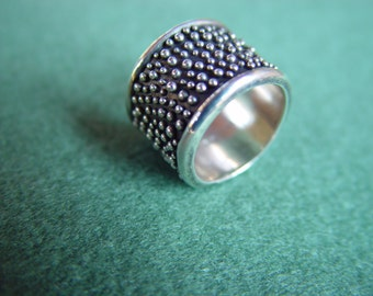 sterling silver OOAK wide lost wax ring one of a kind size 7 (6)