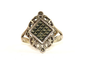 Vintage Scroll Design Marcasite Inlay Ring 925 Sterling Silver RG 258
