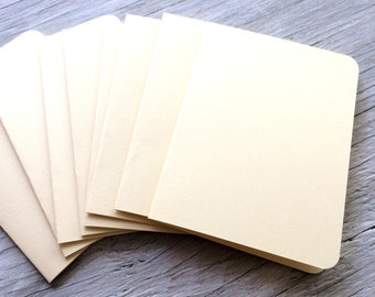 Blank note cards, cream off white cards with rounded corners, set of 4