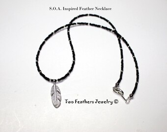 SOA Inspired Feather Necklace - Black And Silver - Beaded Necklace - Sons Of Anarchy Inspired - Biker Jewelry - Two Feathers Jewelry