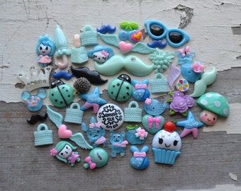 40+ piece blue mix Cabochon Lot