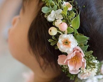 Pale Peach Blush Flower Crown - flower girl crown- peach hair wreath - photo prop - bridal floral hair wreath- garden wedding flower crown