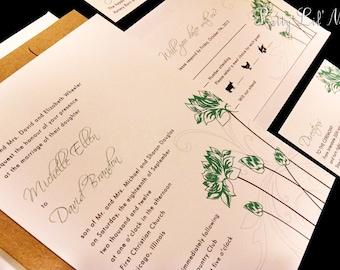 Lotus Peony Flourish Flower Floral Custom Unique Wedding Invitation Simple Elegant Spring Summer Envelope Liner - Lovely Lotus Design