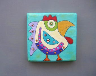 Art Block, Chicken Wall Art, Original Painting on Wood by Fig Jam Studio, Whimsical Art