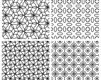 Set of Four Hand Drawn Coloring Pages for Adults or Kids Instant Digital Download Print