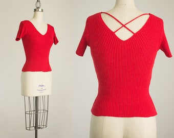 90s Vintage Red Knit Scoop Neck Sweater Top / Size Medium / Large